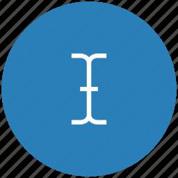 blue, cursor, edit, round, space, text icon