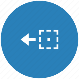 area, blue, drag, drop, object, round, side icon