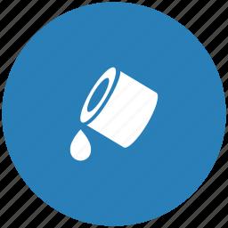 blue, color, drop, fill, ink, printer, round icon