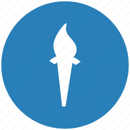 blue, fire, flame, light, round, torch icon