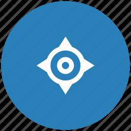 blue, cursor, geo, navigation, position, round icon