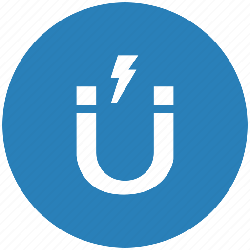 blue, electric, gravity, magnet, round, shock icon