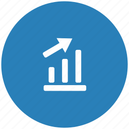 blue, chart, data, grow, report, round, seo icon
