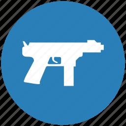 automatic, blue, gun, mashine, round, shoot, weapon icon