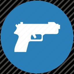 blue, gun, round, safety, shooting, weapon icon