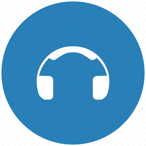 blue, head, listen, music, round, sound icon