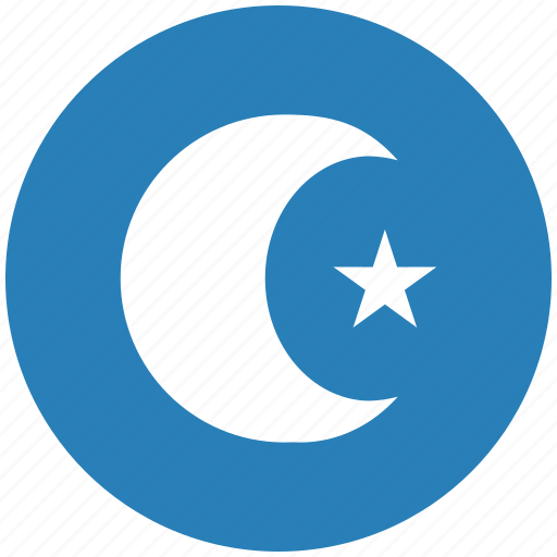 arabic, blue, islam, religion, round icon