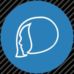 blue, female, hair, lady, round, woman icon