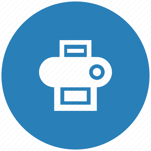 blue, device, function, printer, round icon