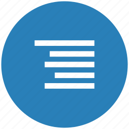 align, blue, edit, format, right, round, text icon