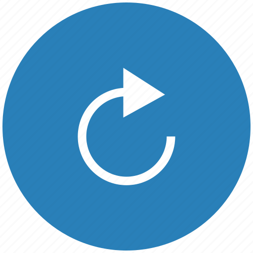 arrow, blue, degree, object, rotate, round icon