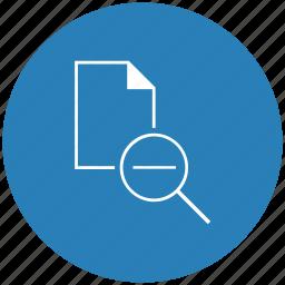 blue, document, file, minus, round, scale icon