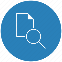 blue, document, file, find, round, search icon