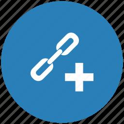 add, blue, create, function, href, link, seo icon