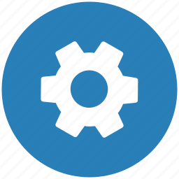blue, configurate, gear, option, round, settings icon