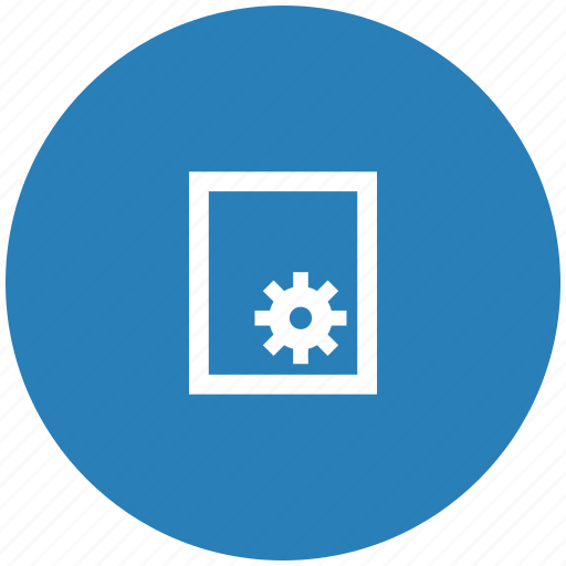 blue, gear, paper, printer, round, settings icon