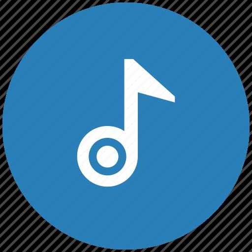 blue, music, note, round, sound icon