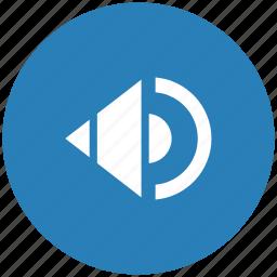 blue, music, mute, round, sound, speaker icon