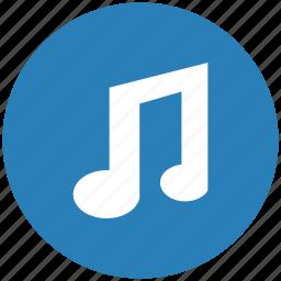 blue, music, mute, note, round, sound icon