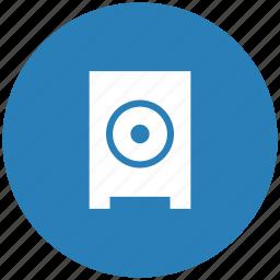 blue, listen, music, mute, round, sound, speaker icon