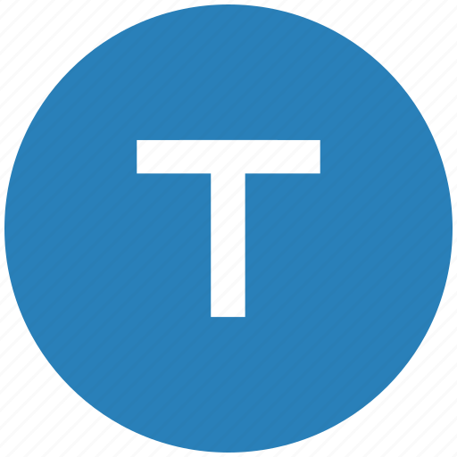 blue, format, letter, normal, round, t, text icon