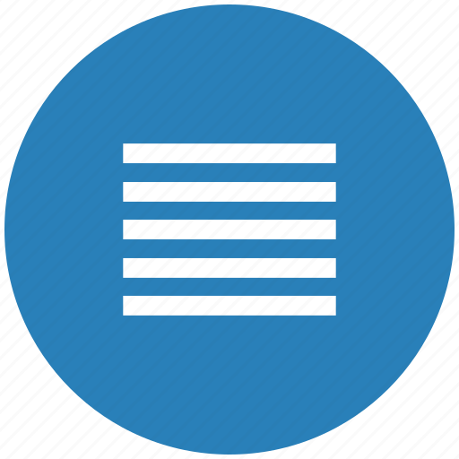blue, format, justify, paragraph, round, text icon