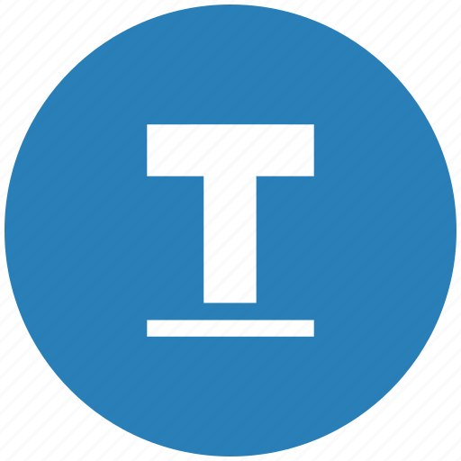 blue, format, letter, round, text, underline icon
