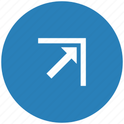 arrow, blue, corner, right, round, top icon