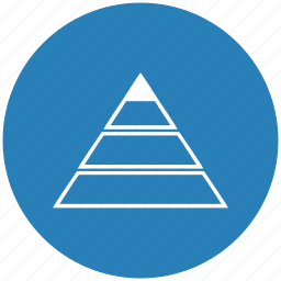 blue, geometry, layers, pyramid, round, triangle icon
