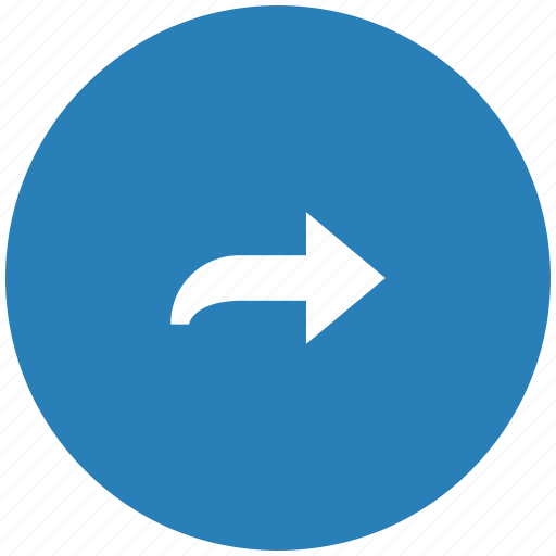 arrow, blue, right, round, turn icon
