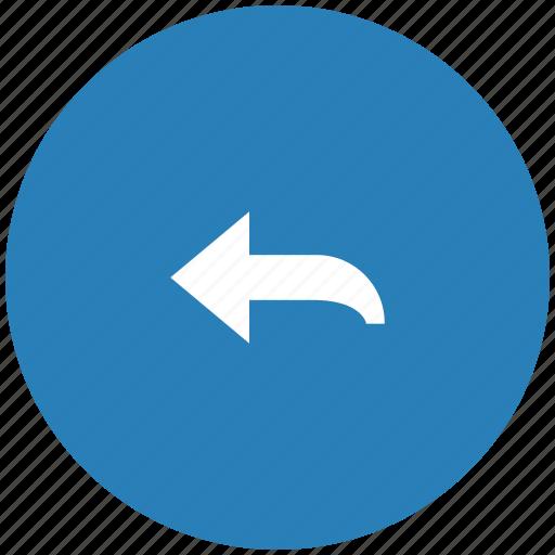 arrow, blue, left, round, turn icon