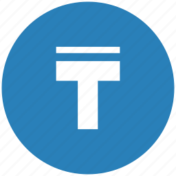 blue, format, letter, round, text, upperline icon