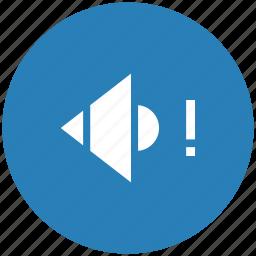 blue, music, mute, round, sound, warning icon