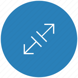 blue, diagonal, measure, round, size, wide icon