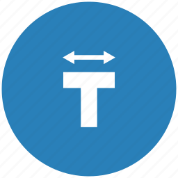 blue, format, letter, round, text, width icon