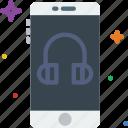function, communication, mode, mobile, headphone icon