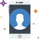communication, function, mobile, phone, profile icon