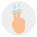 down, finger, gestures, swipe, touch, two icon