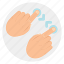 finger, gestures, minimize, pinch, touch, two icon
