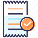 approved, bill, claim approval, contract, invoice, receipt icon