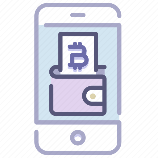 bitcoin, cryptocurrency, internet, mobile, money, spending, wallet icon