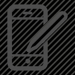 call, iphone, mobile, pen, talk icon
