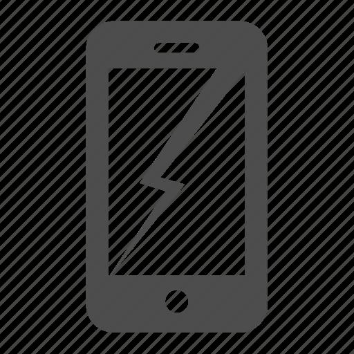 broken, damaged, iphone, mobile, phone, smartphone icon