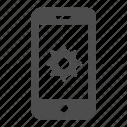 cog, iphone, mobile, phone, smartphone, telephone icon