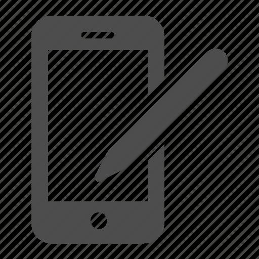 edit, iphone, mobile, pen, phone, telephone, write icon