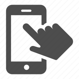 finger, hand, mobile, phone, smartphone, telephone, touch icon