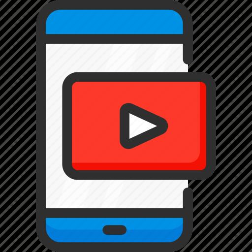 mobile, movie, phone, player, service, smartphone, video icon