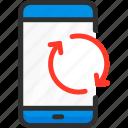 mobile, phone, refresh, service, smartphone, update icon