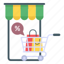mobile store, mcommerce, discount buying, eshopping, discount shopping icon