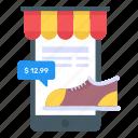 mobile buying, mcommerce, mobile shopping, eshopping, buying shoe icon